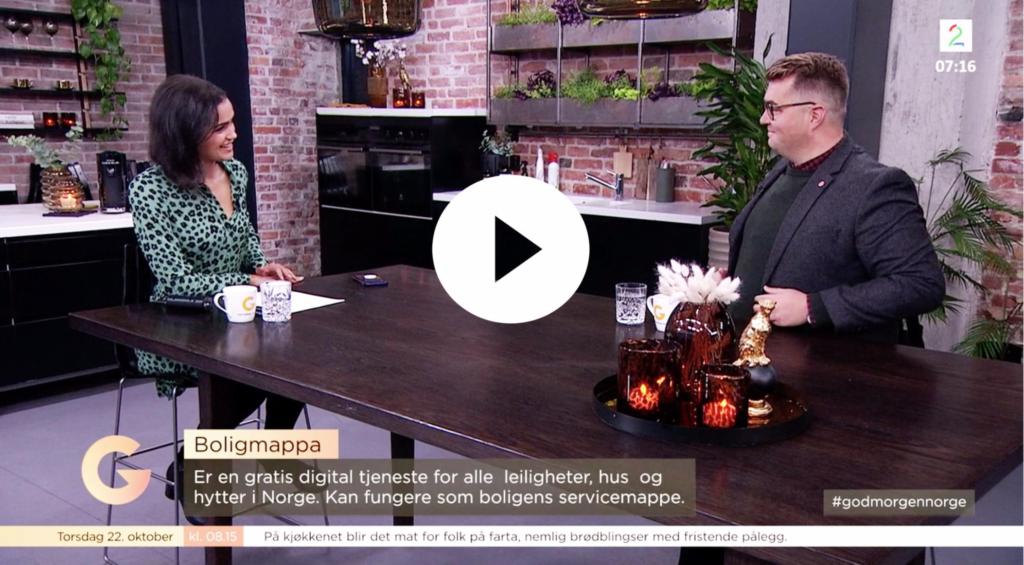Boligmappa på besøk hos TV2 God Morgen Norge. Eirik Vigeland, kommunikasjonssjef i Boligmappa.